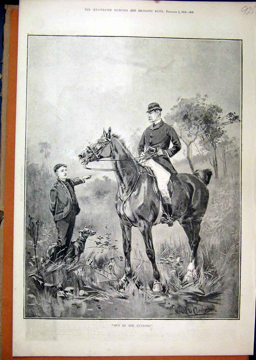 Print 1890 Young Boy Dog Man Horse Lost Country Scene 25Mar1 Old Original