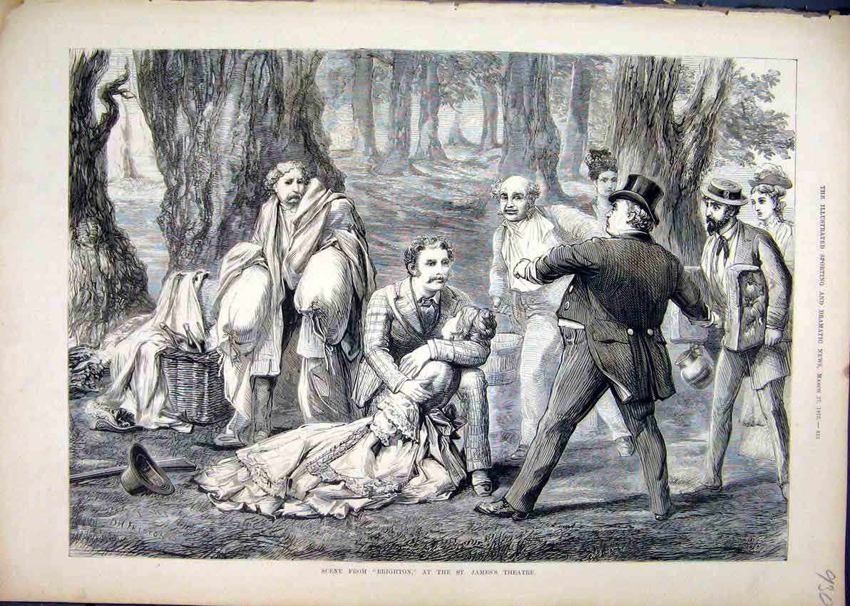 Print 1875 Scene Brighton St James Theatre Woods Picnic 30Mar1 Old Original