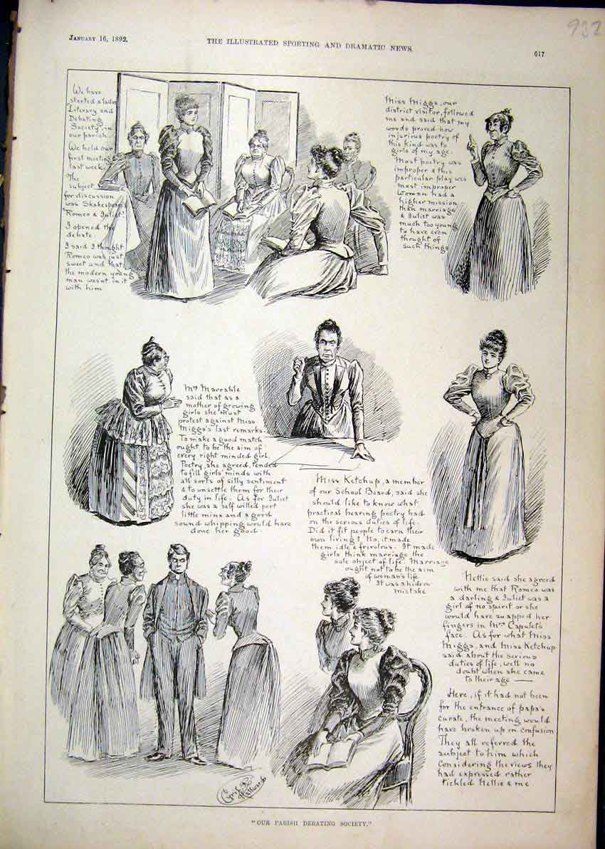 Print Parish Debating Society 1892 Woman Man Fancy Dress 32Mar1 Old Original