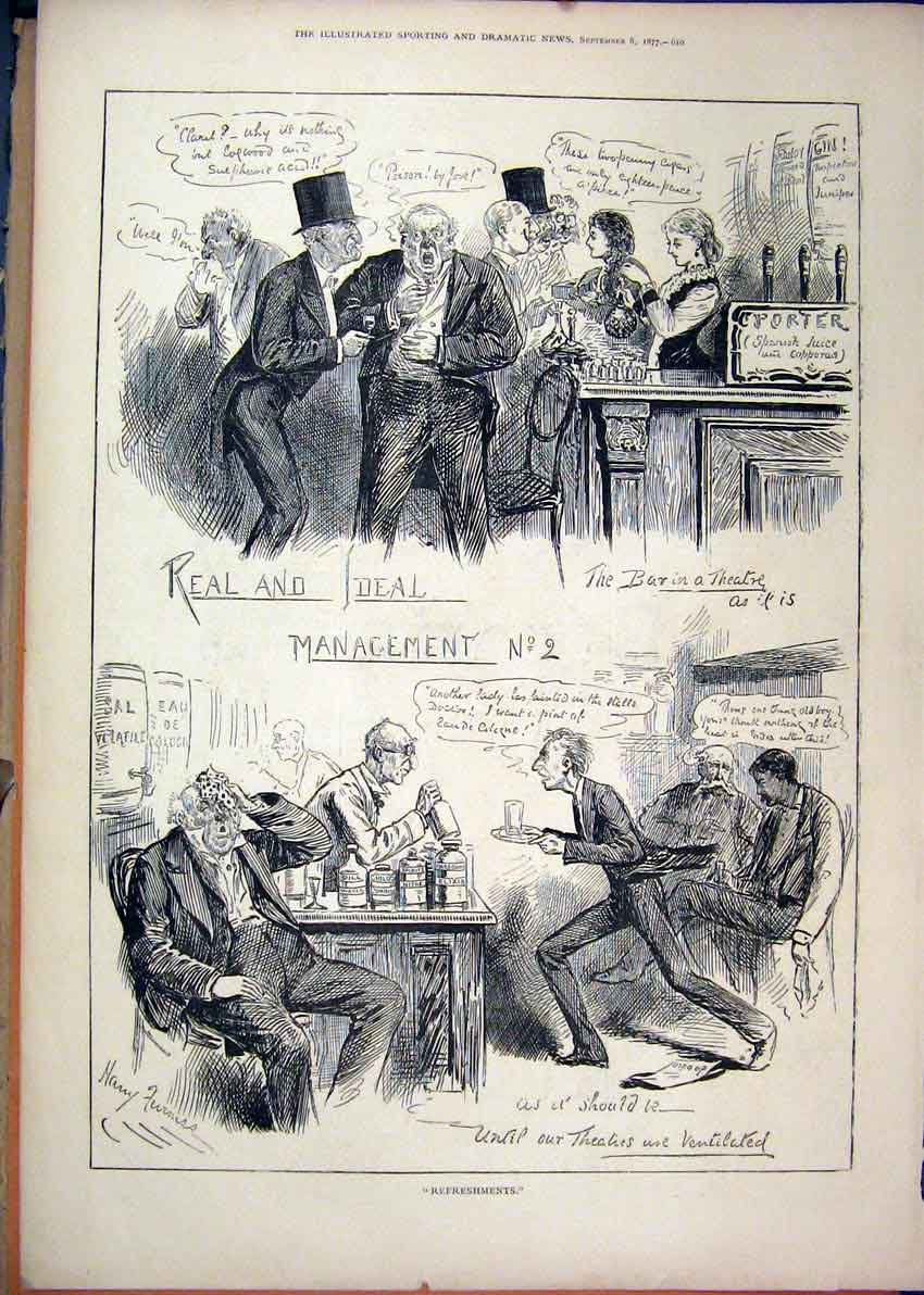 Print 1877 Real Ideal Mangement Men Drinking Bar 40Mar1 Old Original
