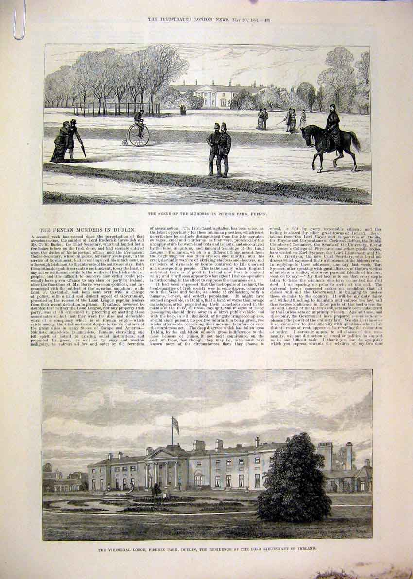 Print 1882 Viceregal Lodge Phoenix Park Fenian Murders River 02Mar1 Old Original