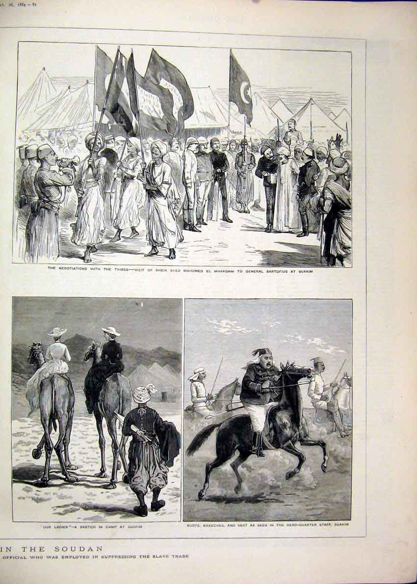 Print Rebellion Soudan 1884 Berber Suakim Scout Camel Tribes 03Mar1 Old Original