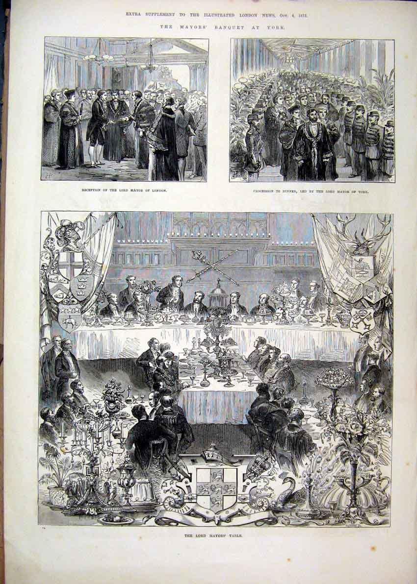 Print Lord Mayor Banquet York 1873 Dinner Guildhall Flags 04Mar1 Old Original