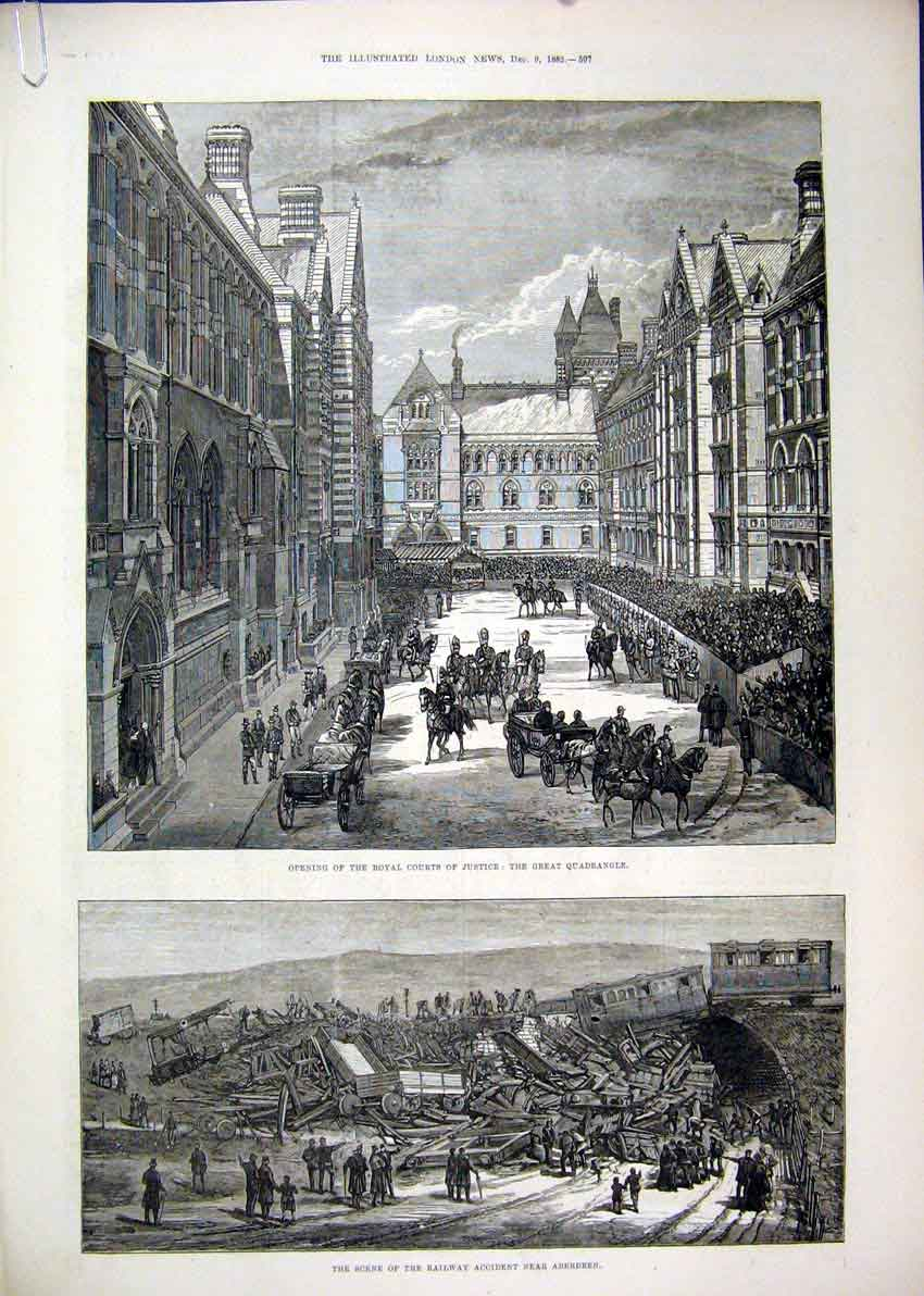 Print Courts Quadrangle 1882 Railway Aberdeen Queen Luncheon 11Mar1 Old Original