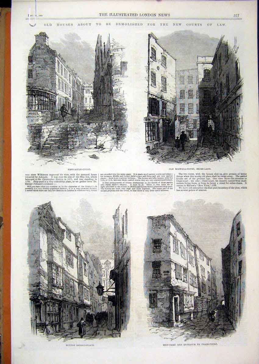 Print Newcastle Court 1866 Ship-Yard Clements Lane Houses 12Mar1 Old Original