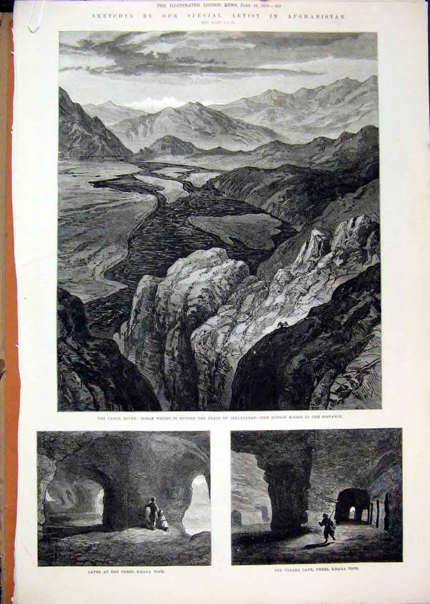 [Print 1879 Afghanistan Cabul River Caves Goorkha Buddhist 14Mar1 Old Original]