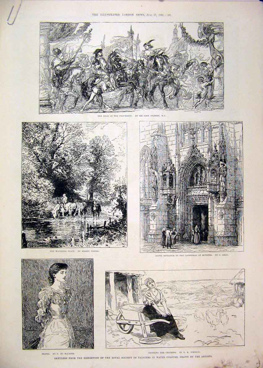 Print Paris Salon 1882 Horse Cathedral Horse Water Beatri 16Mar1 Old Original