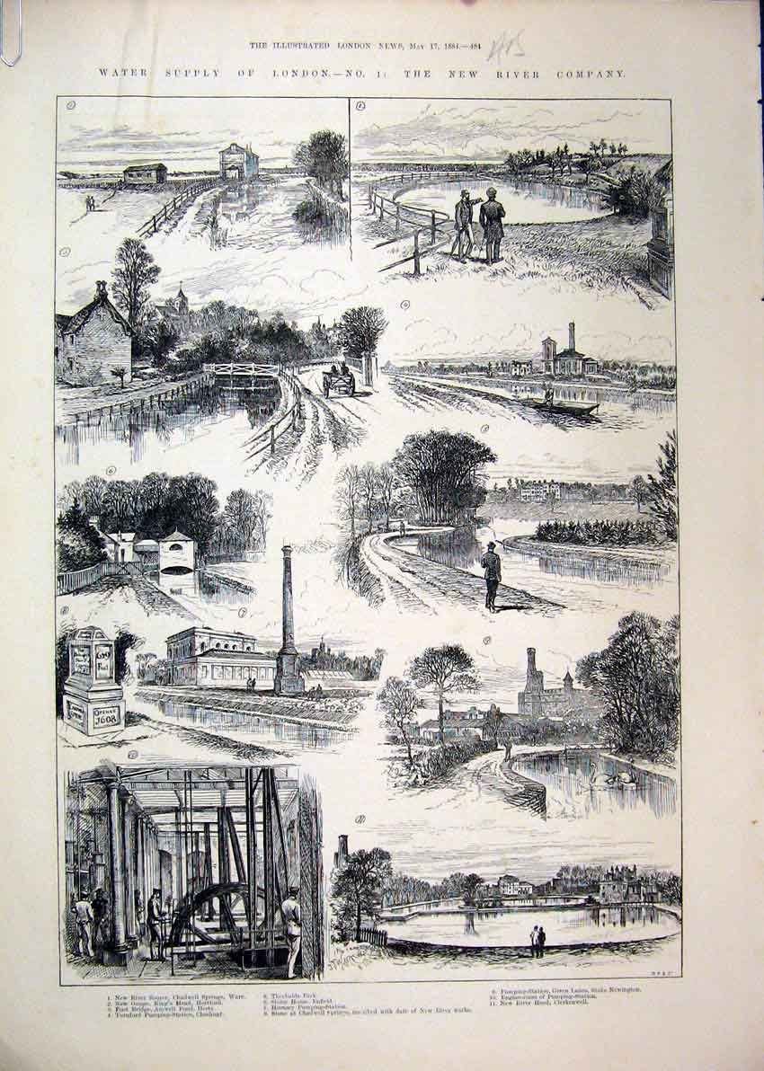 Print 1884 Water Supply London Ferry Boat Reservoir Sluice 18Mar1 Old Original