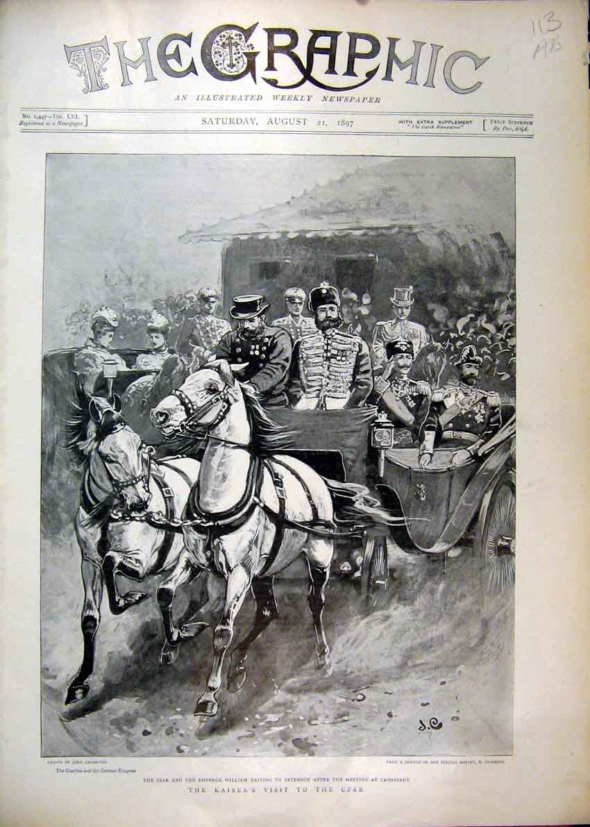 Print Kaiser Czar Horse Coach 1897 Ballet Olga Island William 25Mar1 Old Original