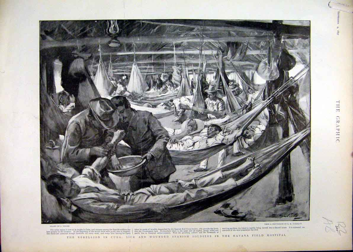 Print Cuba Wounded Soldiers Havana Hospital 1897 Troops Body 30Mar1 Old Original