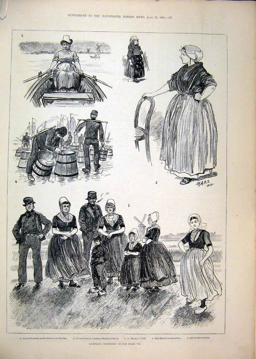Print Peasant Zeeland Boat 1884 Farmers Wife Butter Market 34Mar1 Old Original