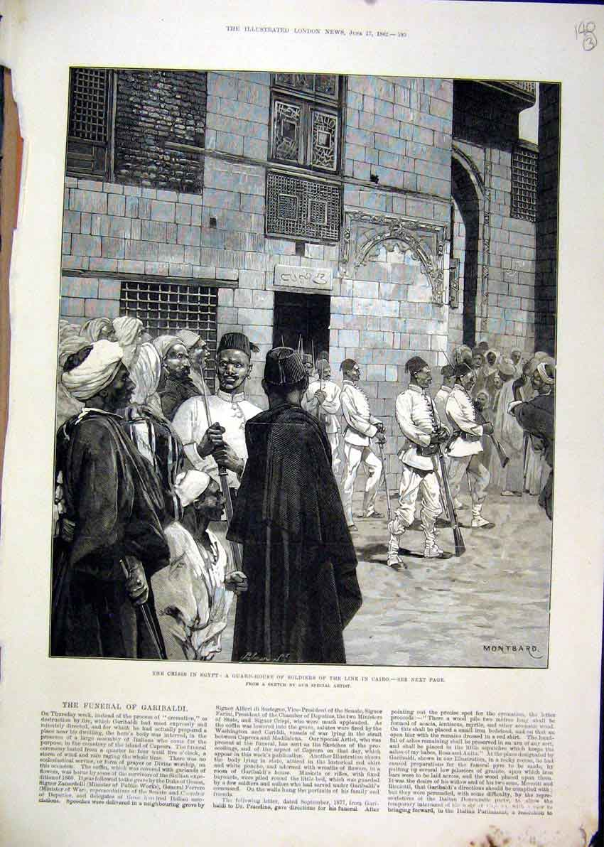 Print 1882 Crisis Egypt Guard House Soldiers Cairo Gun Sketch 39Mar1 Old Original