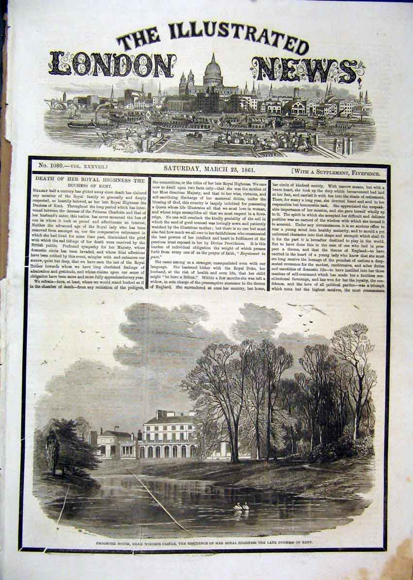 Print 1861 Frogmore House Royal Highness Duchess Kent 40Mar1 Old Original