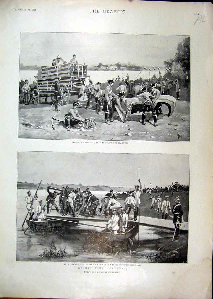 Print 1897 Hussars Packing Boats Artillery Ferry German Army 47Mar1 Old Original