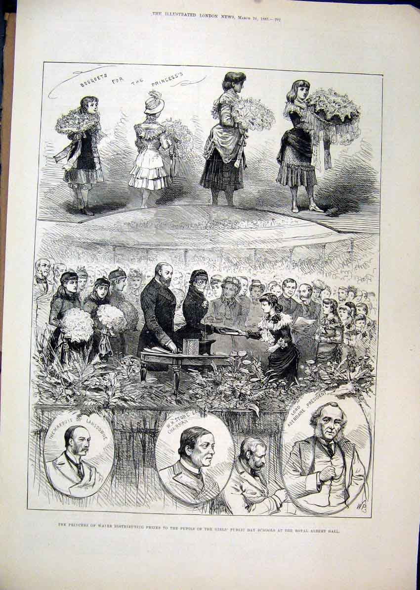Print 1883 Princess Wales Prizes Pupils School Royal Albert 50Mar1 Old Original