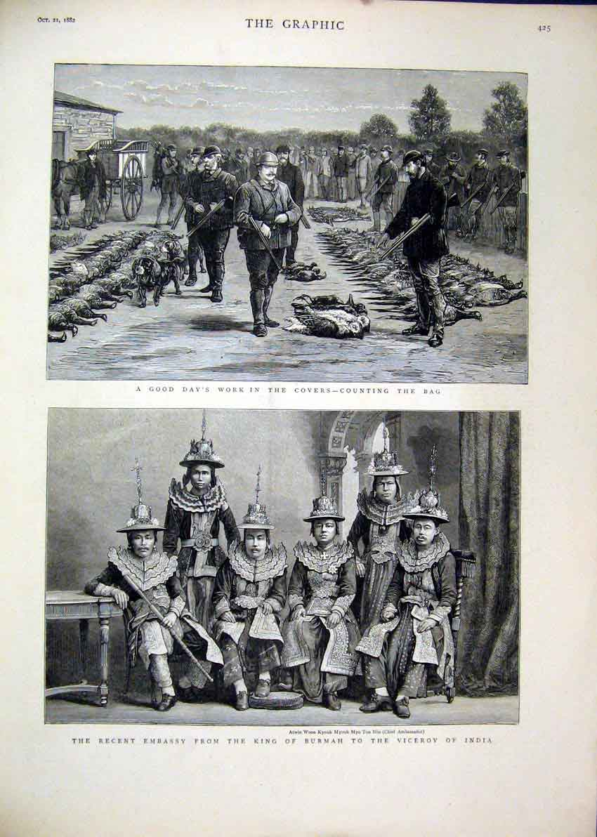 Print 1882 Grouse Shooting Dead King Burmah Viceroy India 54Mar1 Old Original