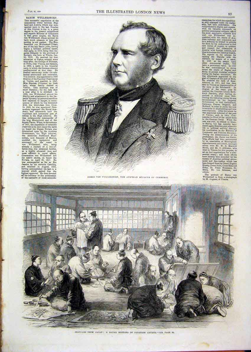 Print 1866 Portrait Baron Von Wullerstorf Japan Artists 57Mar1 Old Original