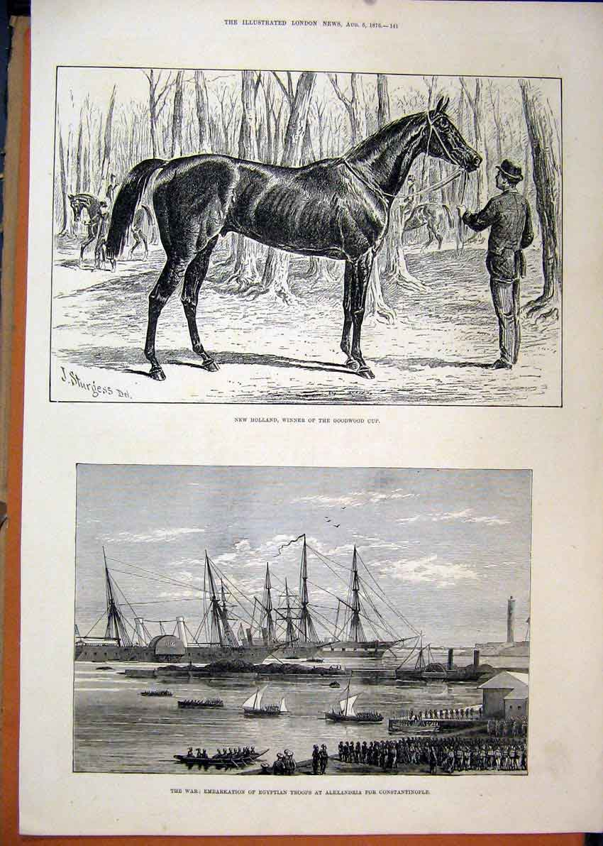 Print 1876 Horse New Holland Winner Goodwood Cup War Troops 61Mar1 Old Original
