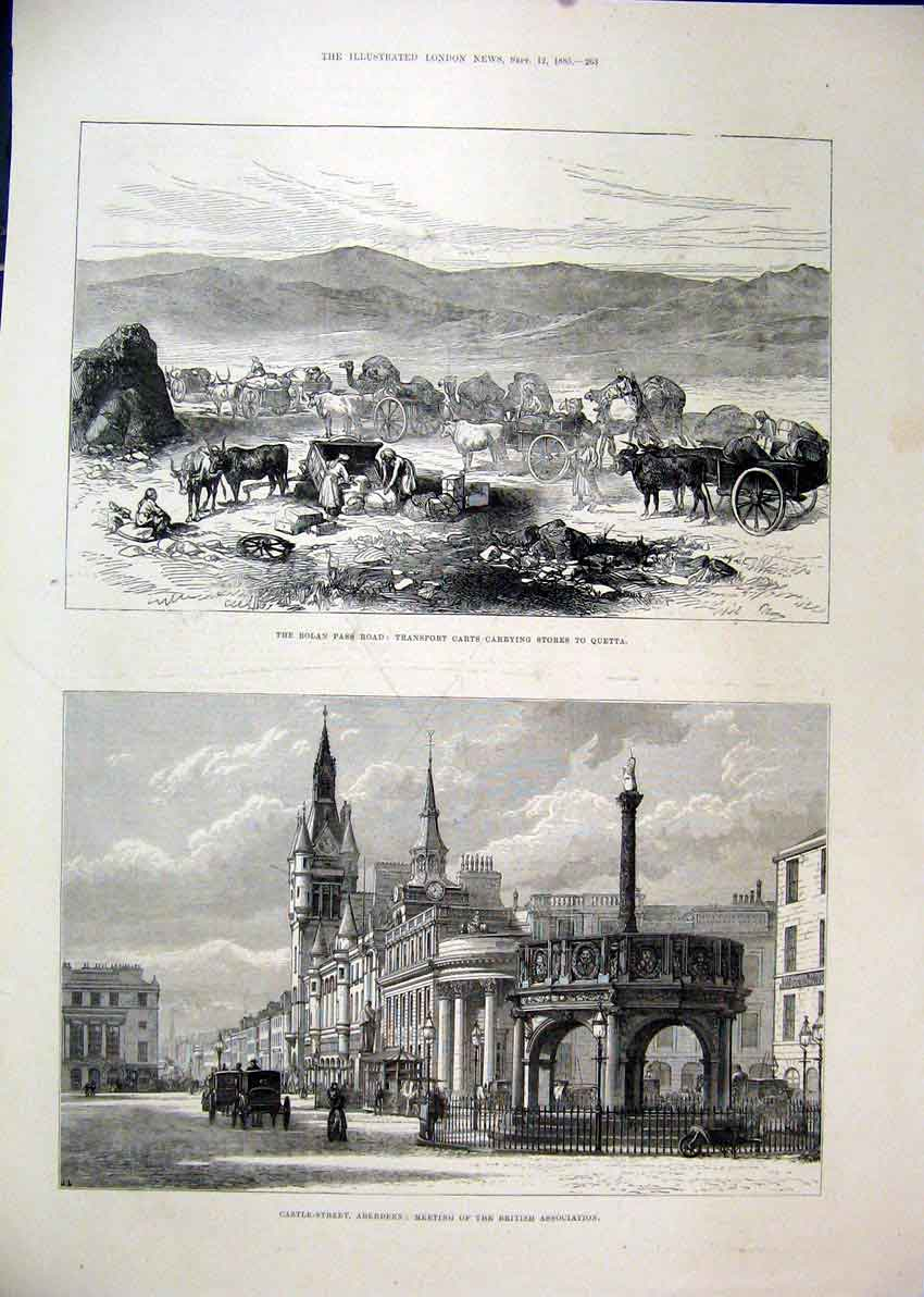 Print 1885 Bolan Road Pass Carts Quetta Aberdeen Castle 63Mar1 Old Original