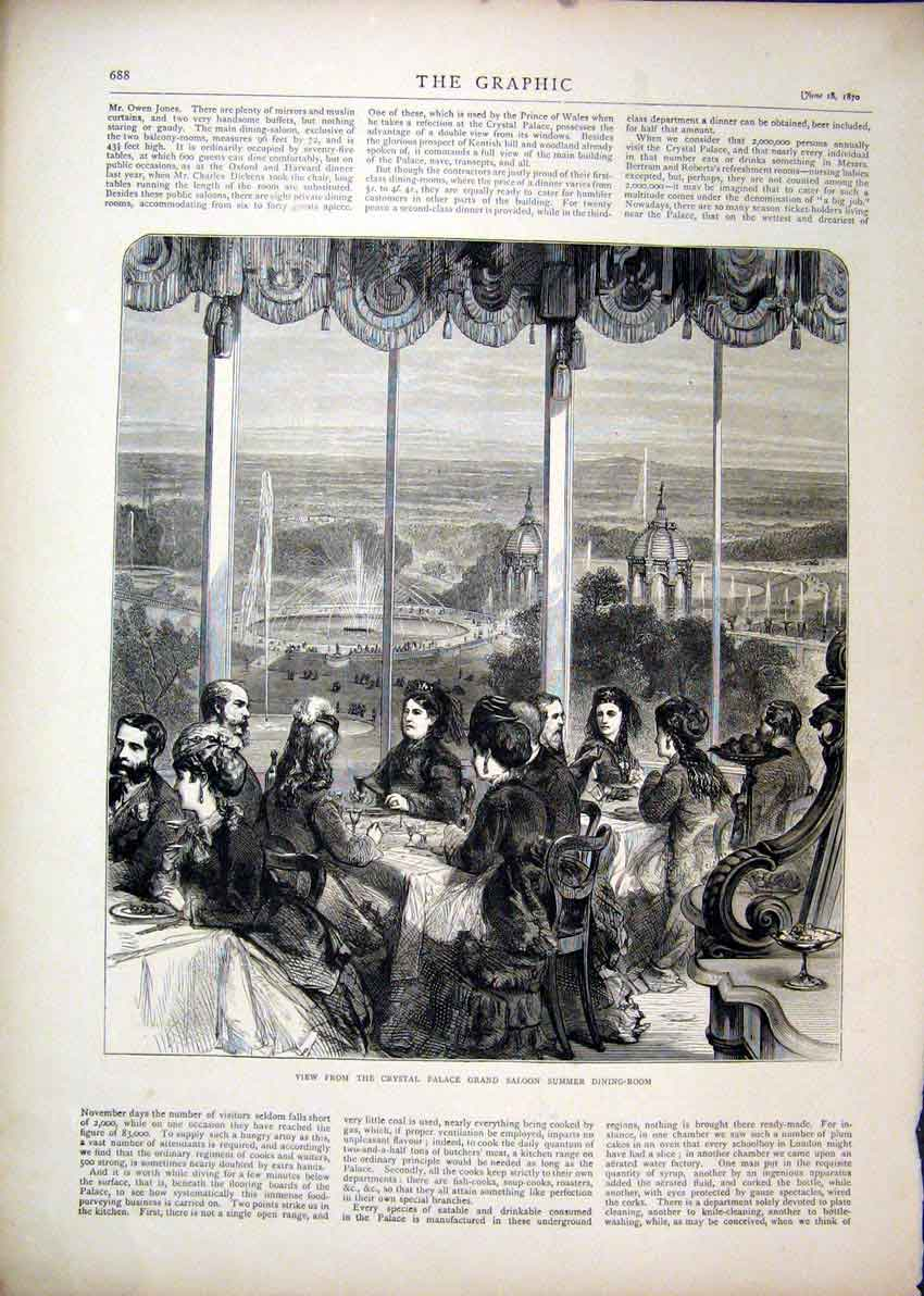Print 1870 Crystal Palace Grand Saloon Dining Room Summer 17Mar1 Old Original