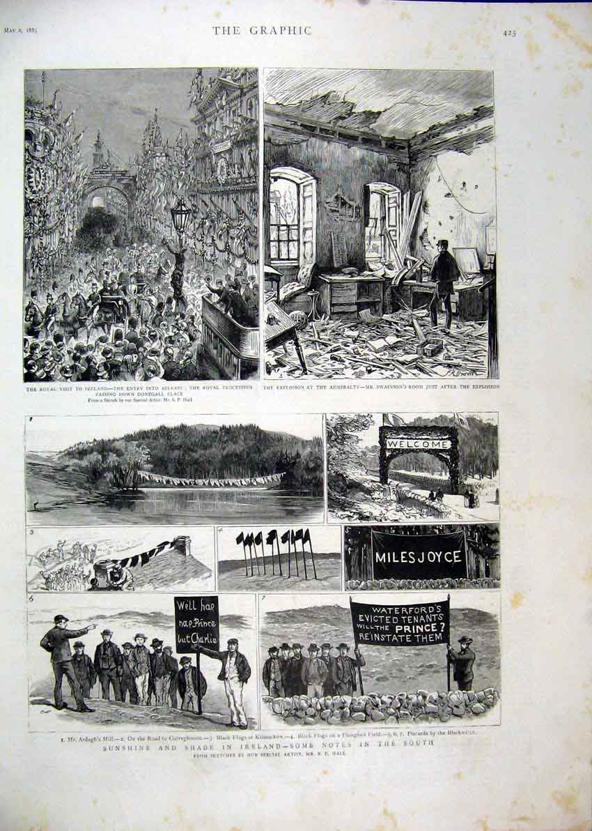 Print Ireland Royal Visit Procession 1885 Ardagh Mill Flags 23Mar1 Old Original