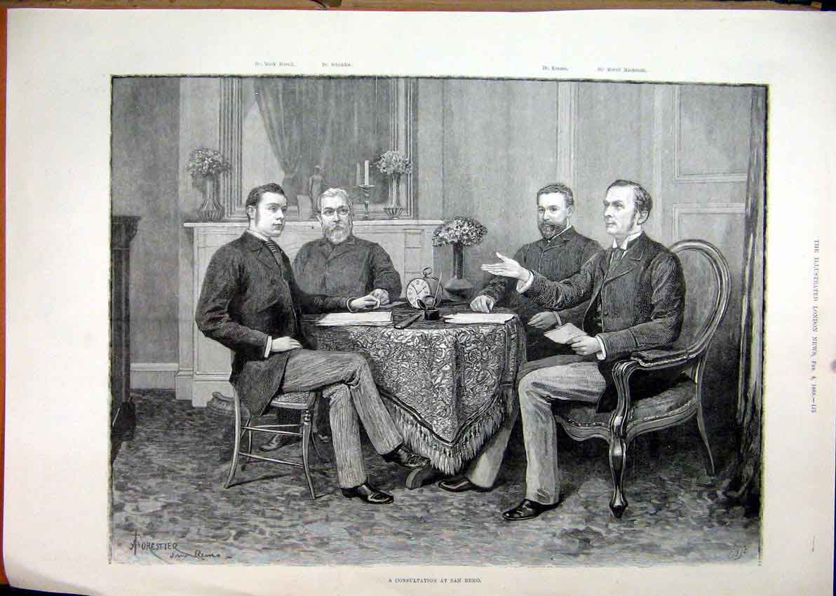 Print 1888 Men Sitting Table San Remo Discussion 27Mar1 Old Original