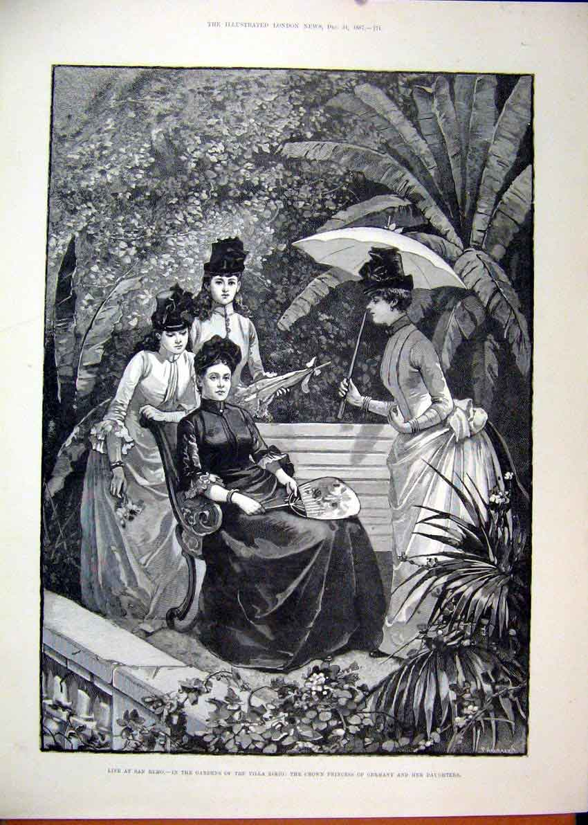 Print 1887 San Remo Gardens Villa Zirio Princess Germany 28Mar1 Old Original