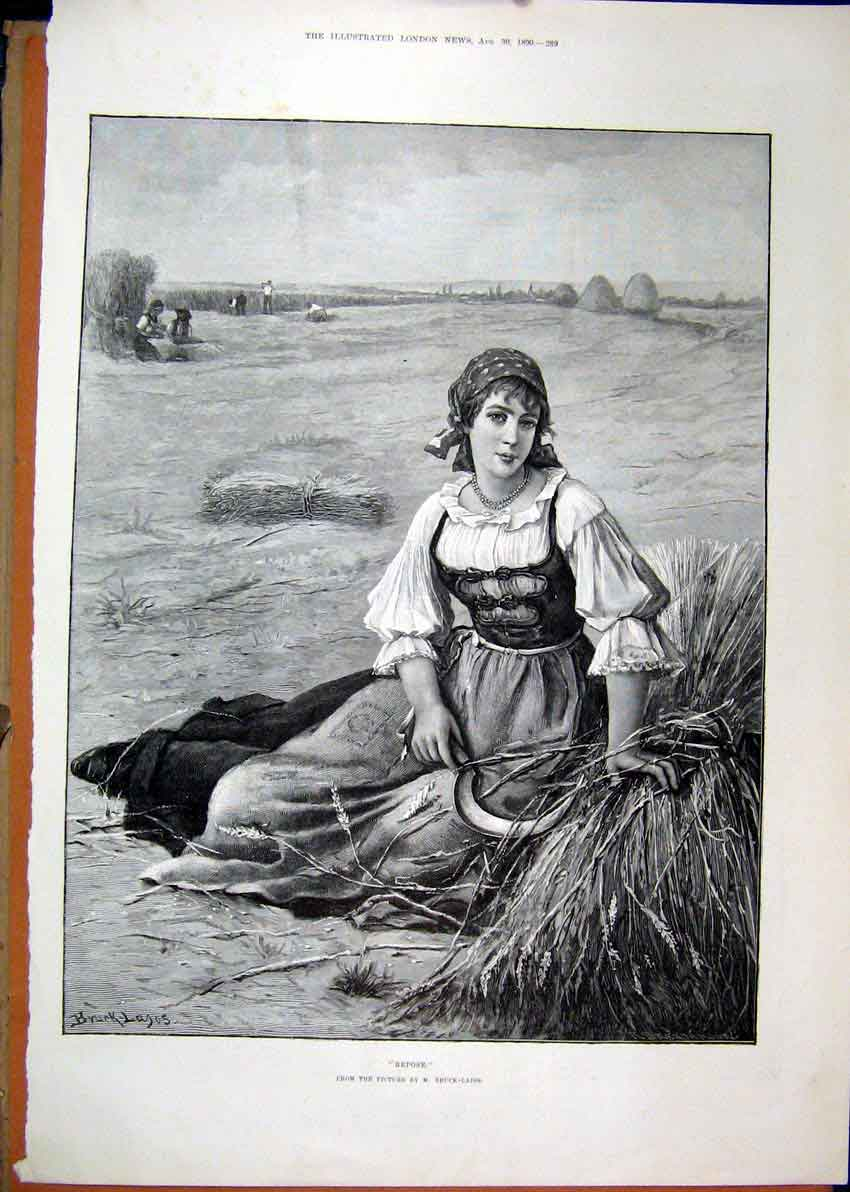 Print 1890 Beautiful Woman Sitting Hay Stack Country Scene 31Mar1 Old Original