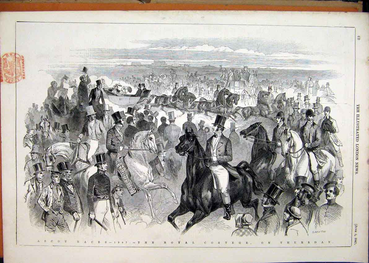 Print Ascot Horse Races 1847 Royal Cortege Coach 33Mar1 Old Original