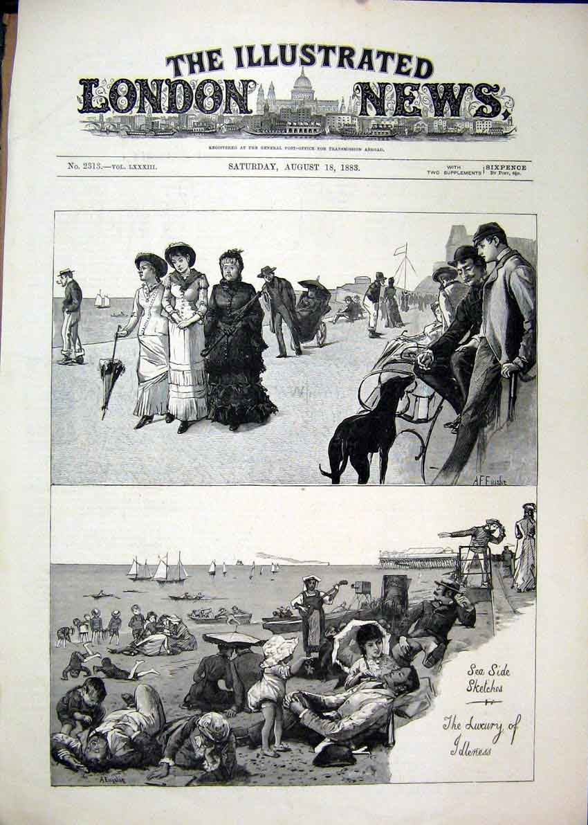 Print 1883 Sea-Side Sketches Family Beach Play Dog Ship 36Mar1 Old Original