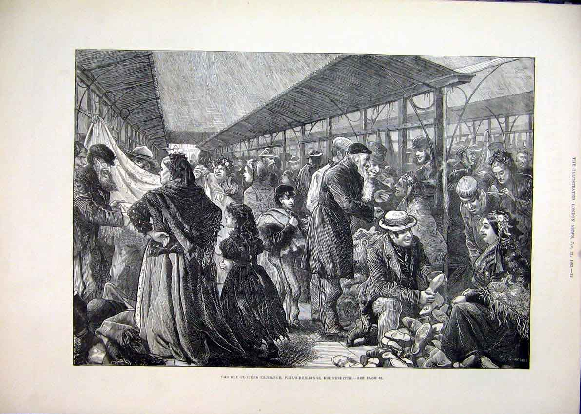Print Clothes Exchange 1882 Phils-Buildings Houndsditch 41Mar1 Old Original