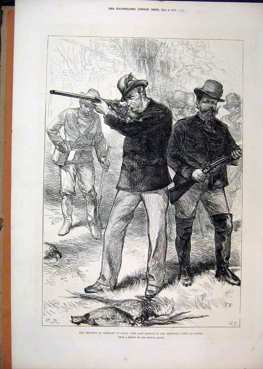 Print Emperor Germany Italy 1875 Shooting Grouse Monza Bird 44Mar1 Old Original