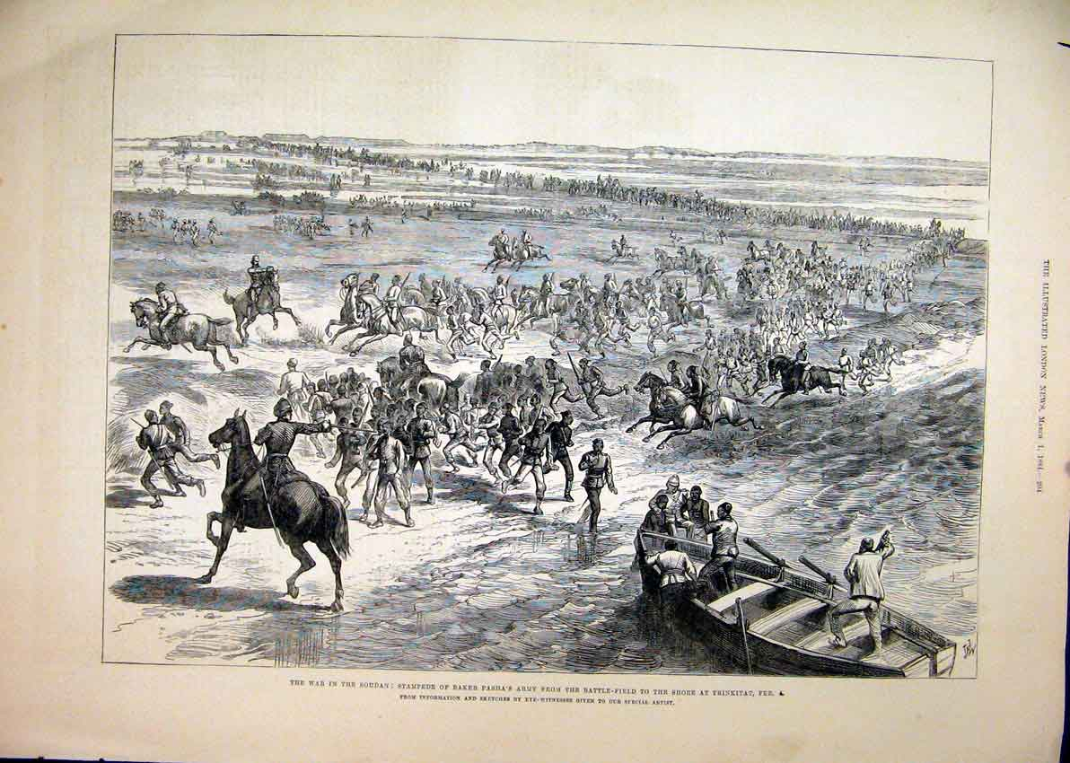 Print 1884 War Soudan Baker Pasha Army Battle-Field Trinkitat 62Mar1 Old Original