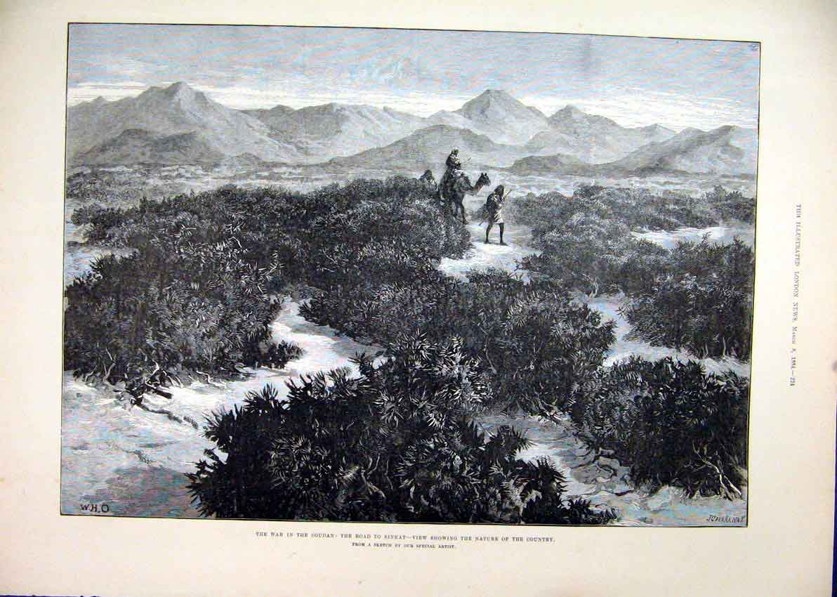 Print 1884 War Soudan Road Sinkat Country Camel Mountains 65Mar1 Old Original