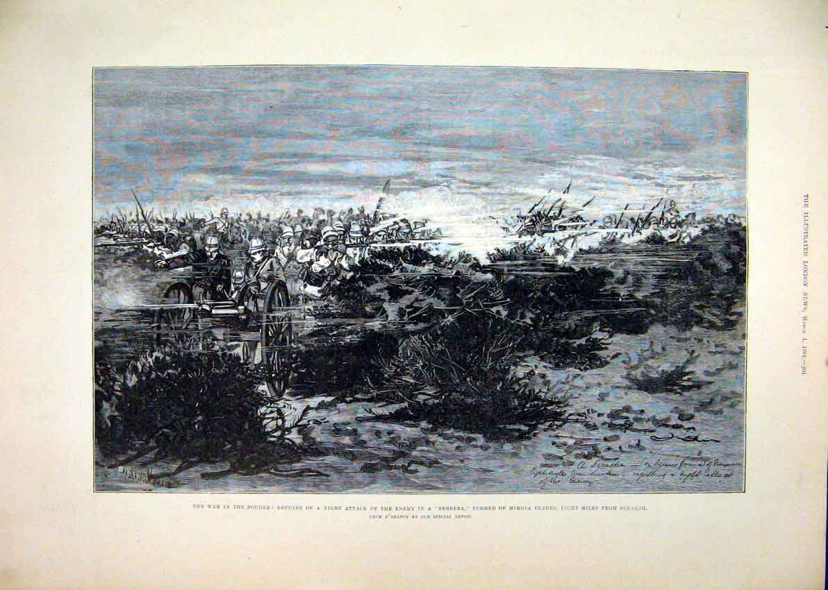 Print 1884 War Soudan Night Attack Enemy Sereeba Mimosa Bush 67Mar1 Old Original