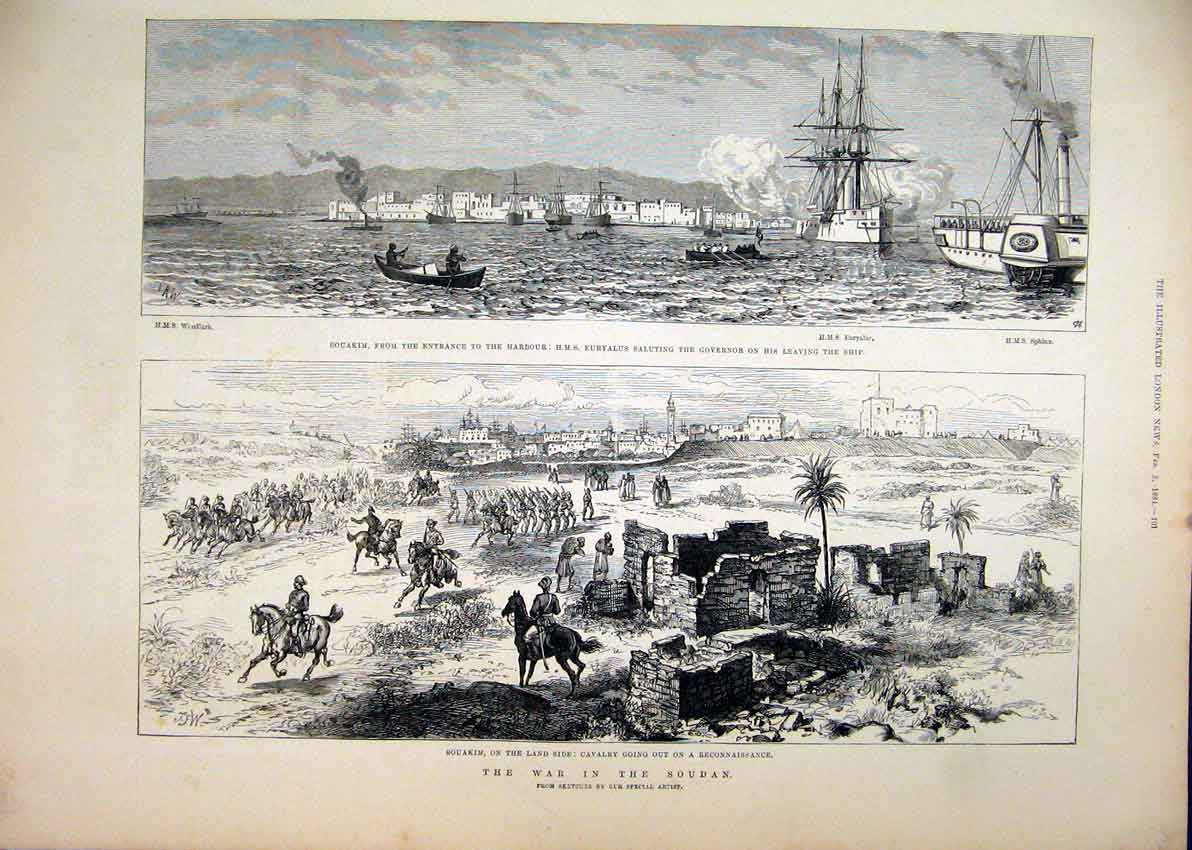 Print 1884 War Soudan Souakim Cavalry Harbour Euryalus Ship 68Mar1 Old Original