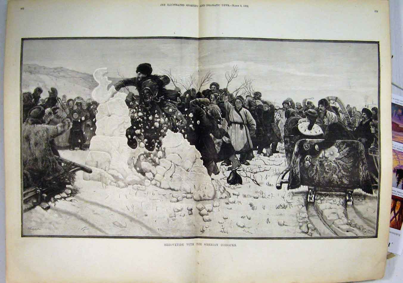 Print 1892 Shrovetide Siberian Cossacks Horse Sledge Snow 03Mar1 Old Original