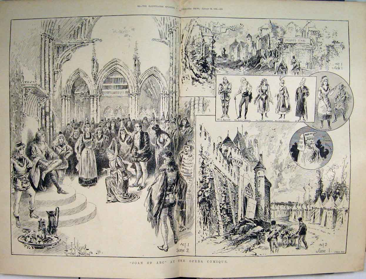 Print 1891 Scenes Joan Arc Opera Comique Theatre 08Mar1 Old Original