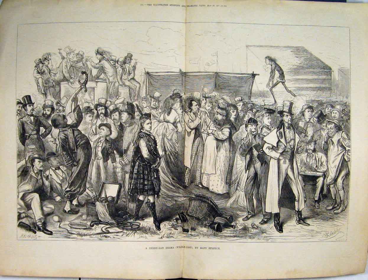 Print 1875 Derby Day Drama Wildly-Cast People Basket 14Mar1 Old Original