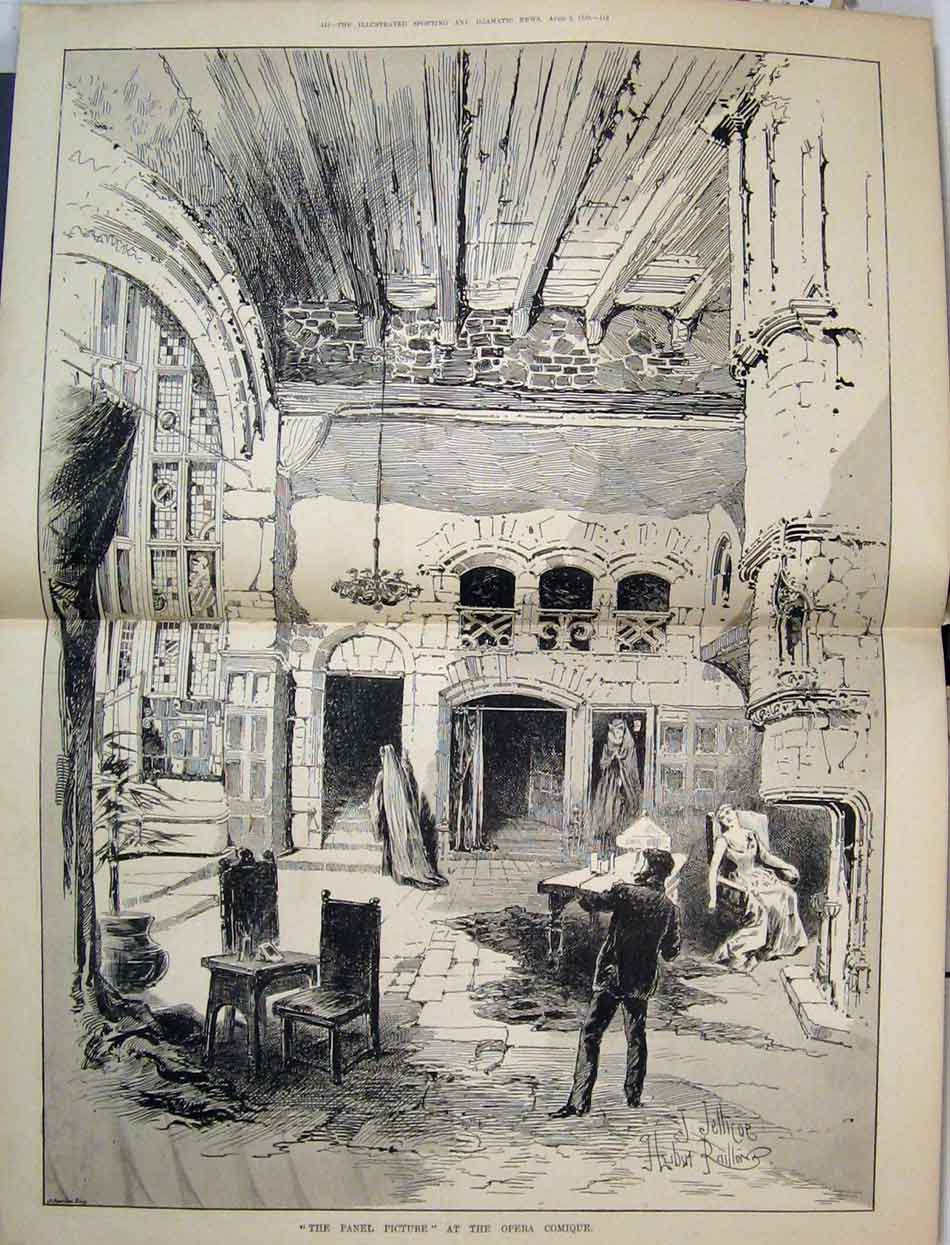 Print 1889 Panel Picture Opera Comique Scene Woman Chair 16Mar1 Old Original