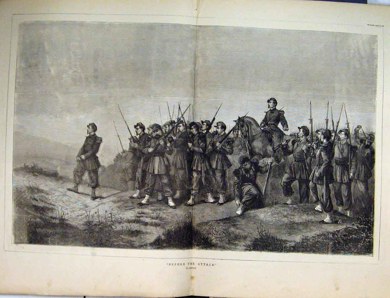 Print 1870 Soldiers War Horse Rifles Country Scene 37Mar1 Old Original