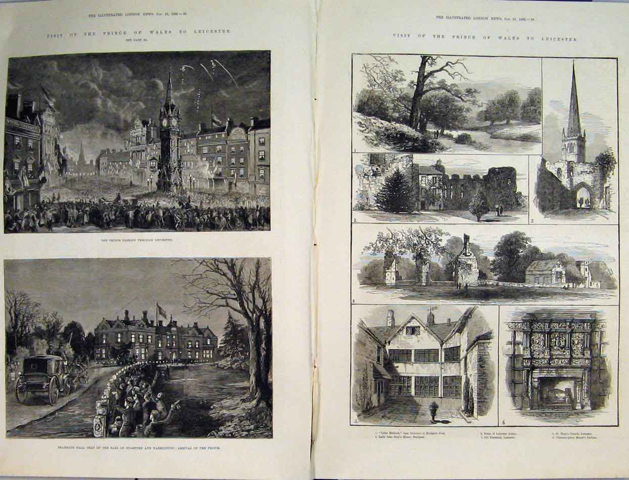 Print 1882 Prince Wales Leicester Bradgate Hall Abbey Church 41Mar1 Old Original
