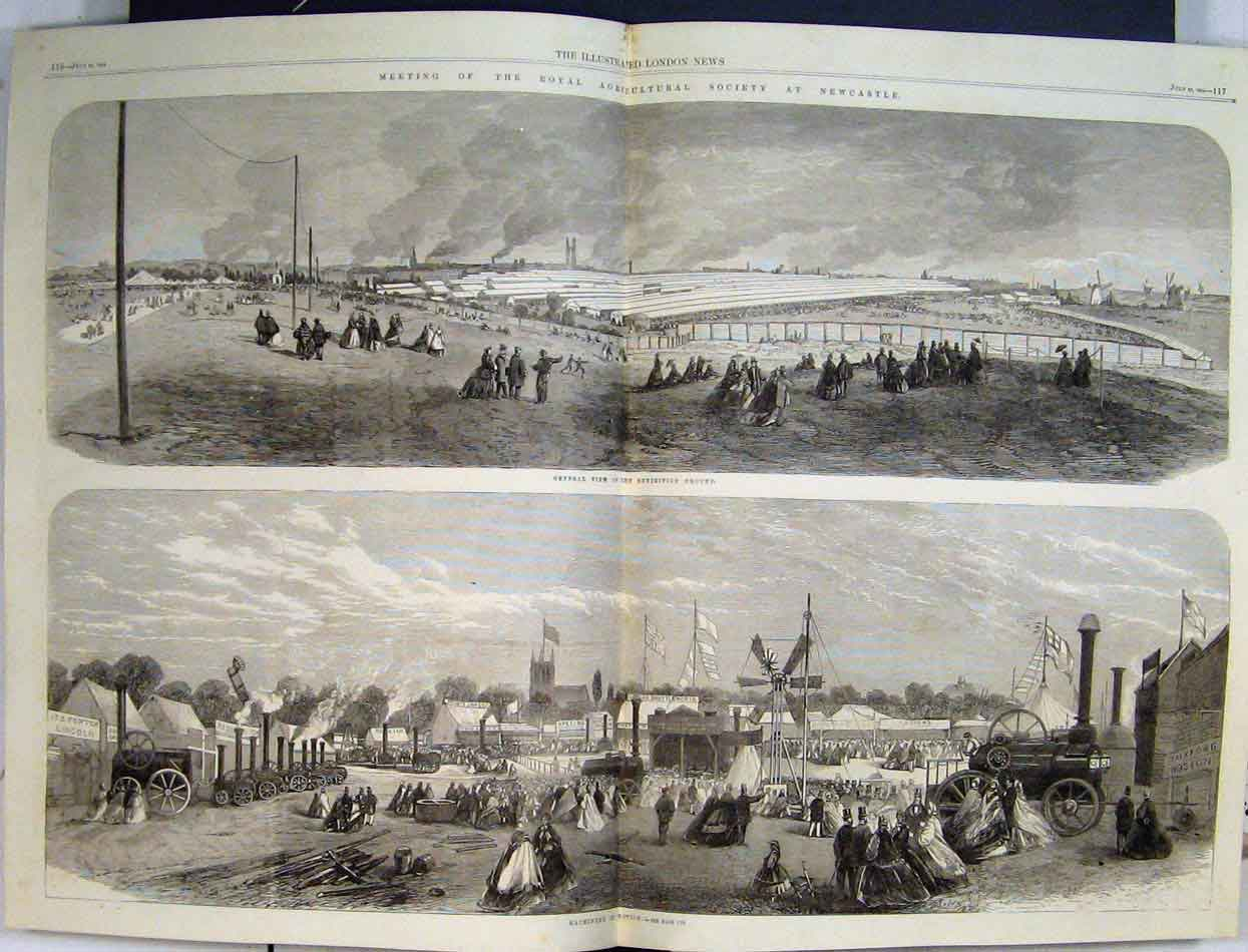 Print 1864 Agricultural Society Newcastle Machinery Grounds 48Mar1 Old Original