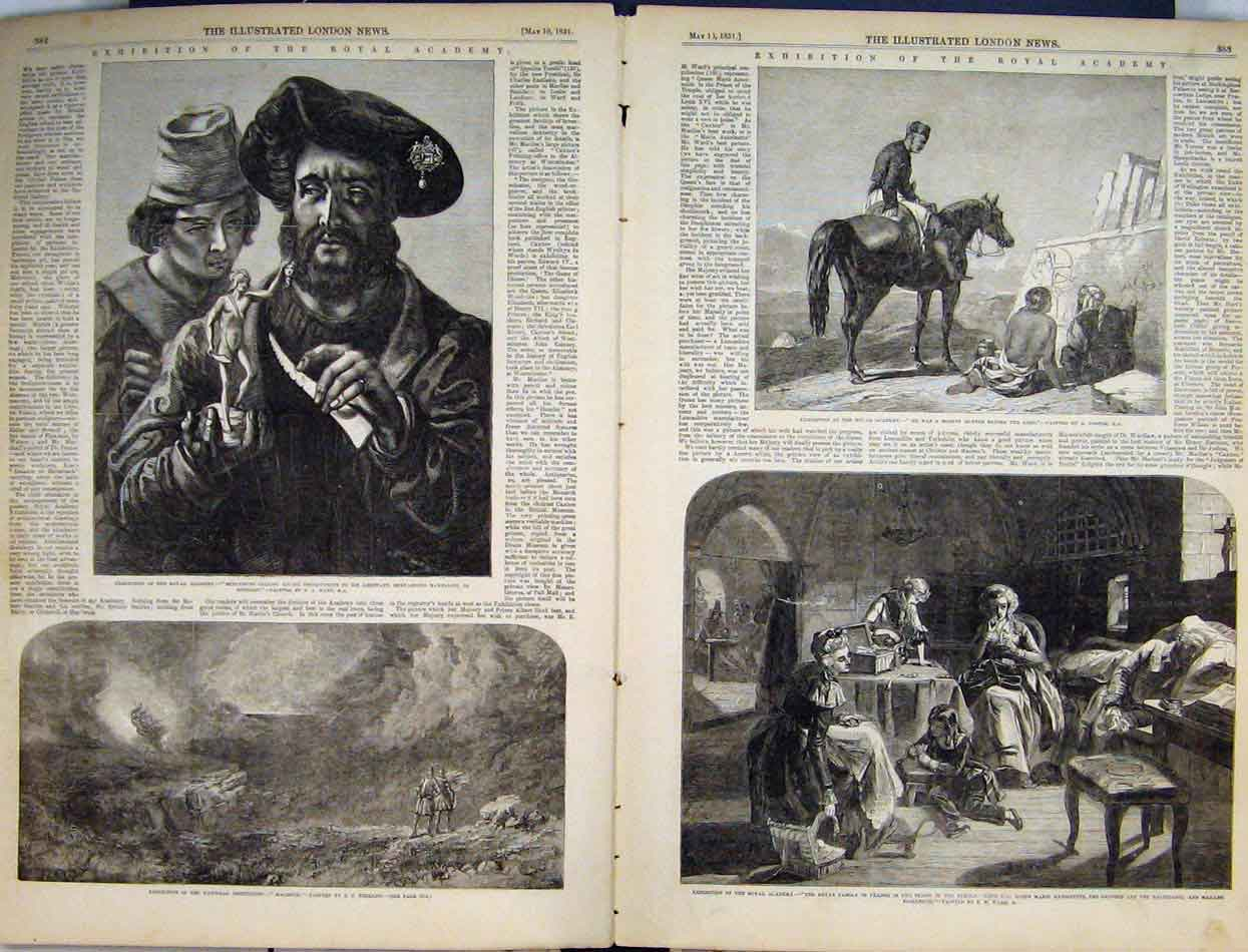 Print Exhibition Royal Academy 1851 Macbeth Royal France 50Mar1 Old Original
