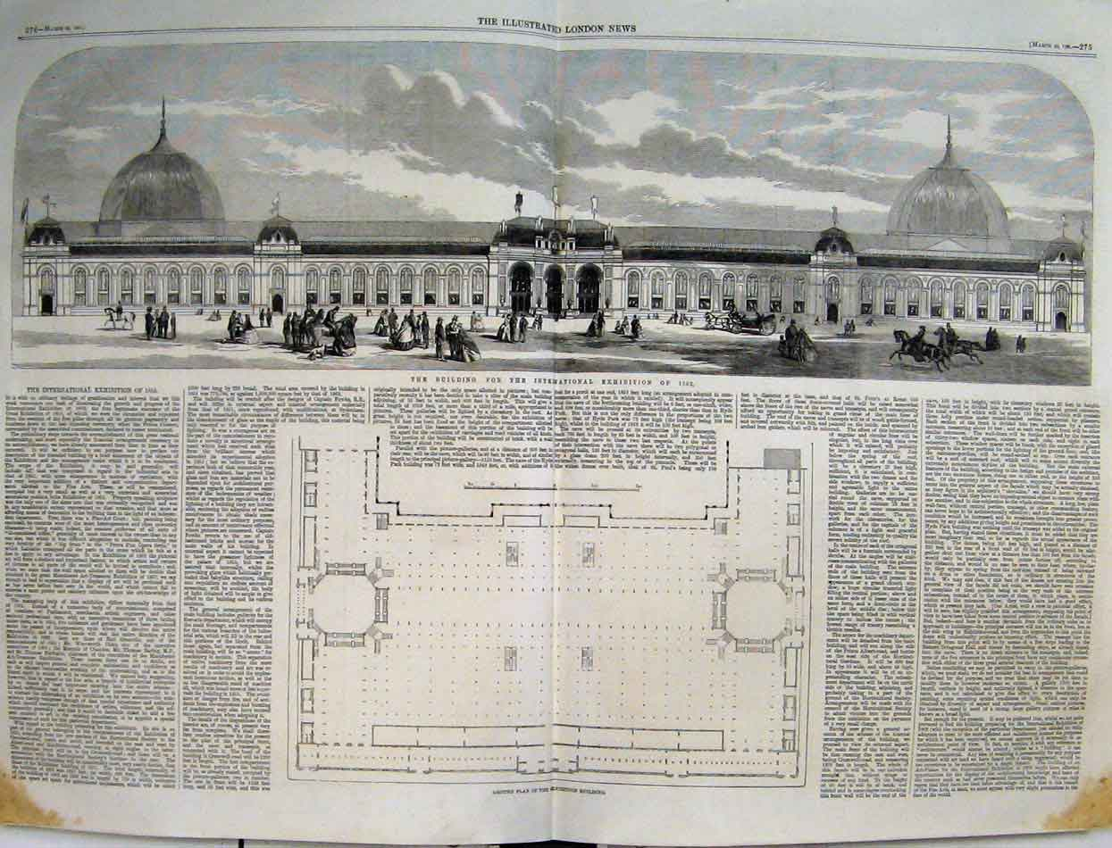 Print 1861 Building International Exhibition Ground Plan 55Mar1 Old Original