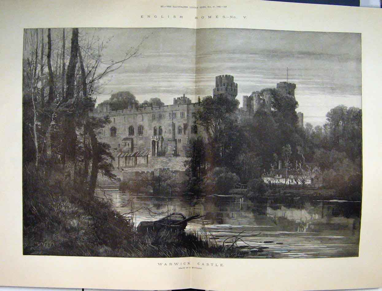 Print English Homes 1886 Warwick Castle Earl Tower Weir Moat 72Mar1 Old Original