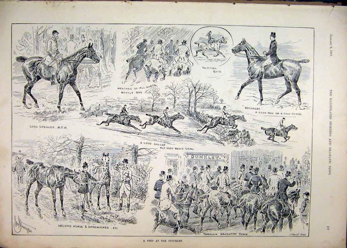 Print 1892 Scenes Peep Pytchley Horses Lord Spencer Daventry 17Mar1 Old Original
