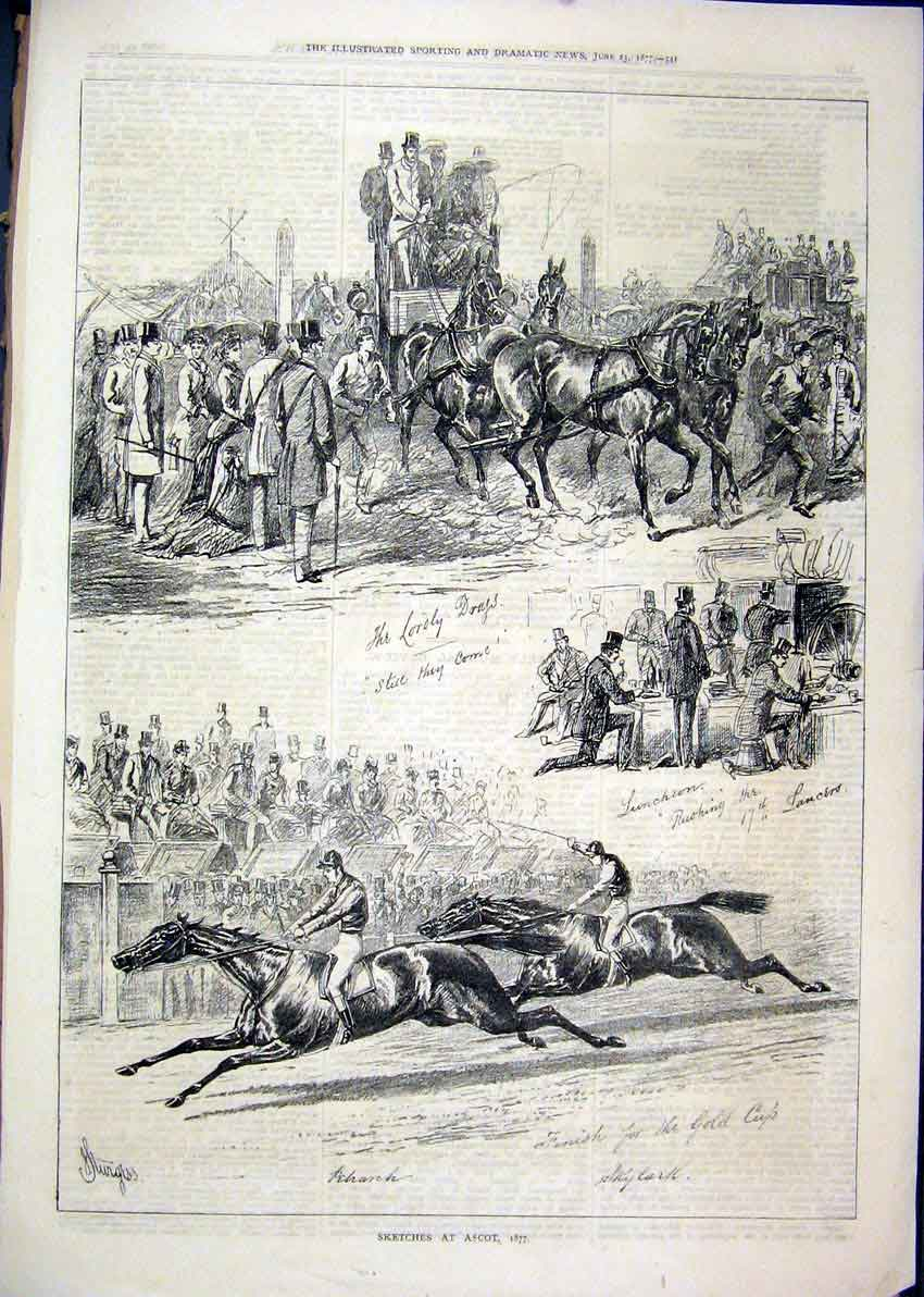 Print 1877 Sketches Ascot Races Horses Coach 40Mar1 Old Original