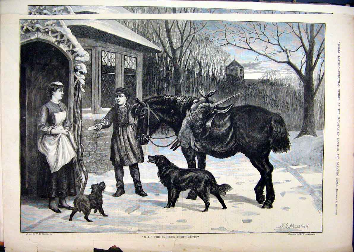 [Print 1883 Snow Scene Boy Horse Dog Hare Bird Woman Door 42Mar1 Old Original]