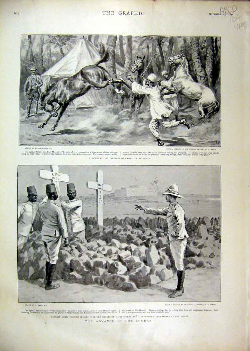 Print 1897 Advance Soudan Camp Merawi Hospital Teck Coffin 64Mar1 Old Original
